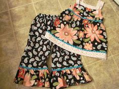 Custom Girls Boutique Multi Color Flowered 2 piece by KutieB