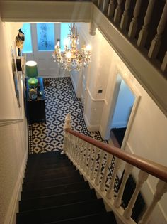 hallway flooring 27 Painted Staircase Ideas Which Make Your Stairs Look New Tags: painted staircase, painted plywood stairs, painted stairs black, painted stairs ideas pictures Edwardian Hallway, Edwardian House, Edwardian Staircase, Victorian Terrace, Hall Tiles, Tiled Hallway, Painted Staircases, Painted Stairs, Wood Stairs