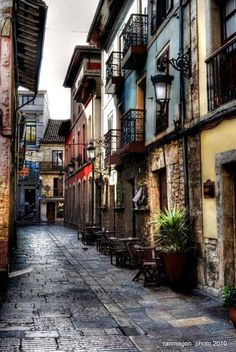 Sol Street,Aviles, Asturias,Spain and where one of my favourite bars is located… Places In Portugal, Places In Spain, Oh The Places You'll Go, Places To Travel, Places To Visit, World Most Beautiful Place, Beautiful Places, Europe Street, Magic Places