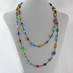 Extra long colorful necklace long glass bead by KathrynDesignsArt