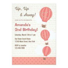 Heißluft Ballon Geburtstags Einladung (Rosa) 12,7 X 17,