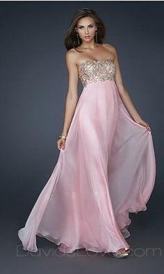 A-Line Strapless Long Chiffon Prom Dress 159.99