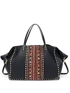 Valentino Rockstud Large Embellished Abstract-Print Leather Tote