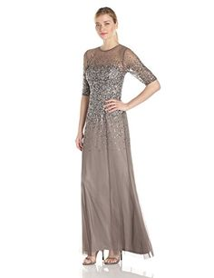 Adrianna Papell Womens 34 Sleeve Beaded Illusion Gown with Sweetheart Neckline Lead 10 * Continue to the product at the image link.(This is an Amazon affiliate link)