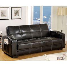 Ariton Dark Espresso Finish Leather Futon Sofa Set