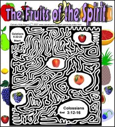 Galatians 5:22-23 The fruit of the Spirit maze. This maze will help you prepare your Sunday school lesson on Galatians 5:22-23 on the Bible story of the fruit of the Spirit.