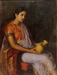 Girl with a Vase. The painter isAX Trindade. Early 19th20th century paintings feature a lot ofdiaphanousgold bordered nine yard saris. This is probably from the 1920s. The blouse and pearls are the usual finishing touches for Goan (and Maharashtrian) elegance.