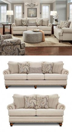 enjoy a relaxed classic style with this sofa in your living room it offers a beautiful design with rolled arms nailhead trim and turned feet comfortable and reversible seat cushions and loose bac 2 - The world's most private search engine Living Room Decor On A Budget, Living Room Seating, New Living Room, Living Room Sets, Interior Design Living Room, Living Room Designs, Living Room Couches, Interior Decorating, Decorating Ideas