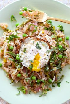 // Asparagus Risotto With a Fried Egg