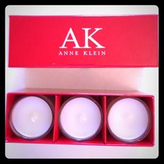 """NWOT Anne Klein cream candle trio NWOT trio of cream """"spa""""candles made exclusively for Anne Klein. Soft scent. Great alone or in candle holders! Anne Klein Other"""