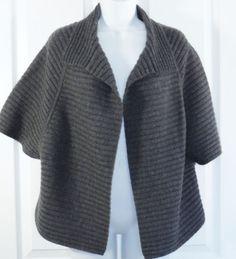 Talbots-Ribbed-Open-Cardigan-Kimono-Sweater-XS-Gray-Merino-Wool-3-4-Sleeves