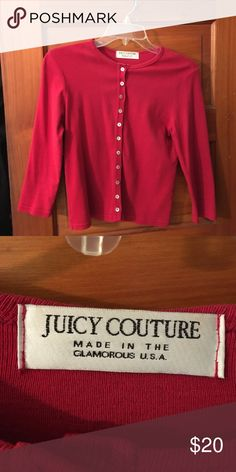Juicy Couture Lipstick Red Crop Top Made in the Glamourous USA, 100% cotton dark red Juicy crop top. Gently worn and cared for. Juicy Couture Tops Crop Tops