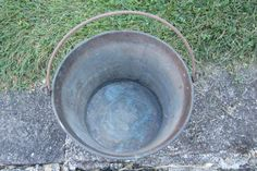 Antique Brass Cooking Kettle Pot with Baled by TheOldTimeJunkShop