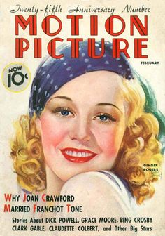 """Ginger Rogers ~ """"Motion Picture"""" magazine..."""