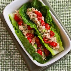 Tuna Salad Lettuce Wraps with Capers and Tomatoes from Kalyn's Kitchen. http://punchfork.com/recipe/Tuna-Salad-Lettuce-Wraps-with-Capers-and-Tomatoes-Kalyns-Kitchen