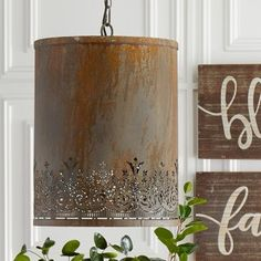 AUTUMN SPLENDOR | Antique Farmhouse Light Shades, Decor, Punched Tin, Hanging Pendants, Hanging, Bathroom Pendant Lighting, Hanging Pendant Lights, Cedar Homes, Light Fixtures