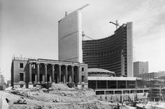 New City Hall under construction Toronto Old Registry of Deeds and Land Titles Building on left Toronto Ontario Canada, Toronto City, Toronto Travel, Canadian Culture, Canadian History, American History, Toronto Pictures, Canadian Things, Historical Architecture