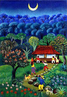 Moonrise 2009 by Karmen Garcia (Nicaraguan, born Peruvian Art, Art Village, Cottage Art, Building Art, Fantasy Paintings, Naive Art, Mexican Art, Whimsical Art, Landscape Art