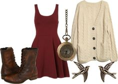 Cute fall outfit. Can pair with tights if it's cooler