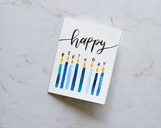 Happy Birthday Candles Card Birthday Candle Card Birthday Candles Blow Out the Candles Handmade watercolor card Watercolor Birthday Cards, Birthday Card Drawing, Cool Birthday Cards, Bday Cards, Handmade Birthday Cards, Watercolor Cards, Birthday Ideas, Fabulous Birthday, Birthday Card Design