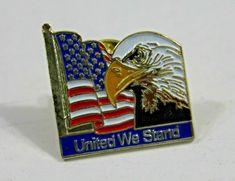 Patriotic Bald Eagle Diamond USA Flag Square Tie Bar Clip Clasp Silver or Gold
