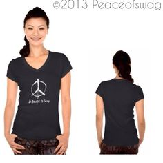 Womens Girls PEACE Symbol Sign SMALL SM 100% JERSEY KNIT COTTON V-NECK Black Fashion HIPPIE Swag T-Shirt $22.00