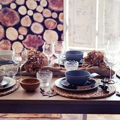 A #Thanksgiving table setting with #IKEA items. Mix and match your dishes and tablemat selections.