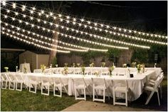 A DIY Backyard Wedding. Perfect!! Use bridesmaids flower bouquet for each table to save $. And big food buffet, tent for kids w/ movie (on laptop, or projector, and DIY dance floor, w/ DJ) also add twinkle lights to trees to, and programs w/ menu on them. Add bonfire and tents if wedding weekend/camping overnight for boho under stars theme