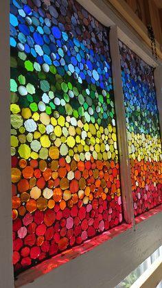 Glass mosaic rainbow by Glass Artworks Rainbow Glass, Love Rainbow, Taste The Rainbow, Rainbow Art, Over The Rainbow, Rainbow Colors, Mosaic Art, Mosaic Glass, Stained Glass
