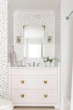 Girl Bathroom Decor, Bathroom Kids, White Bathroom, Bathroom Interior, Neutral Bathroom, Peach Bathroom, Parisian Bathroom, Bathroom Canvas, Silver Bathroom