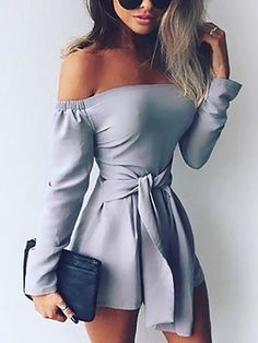 Fashion Shirring Off Shoulder Belted Casual Romper