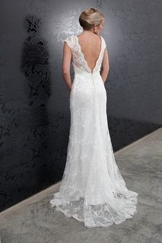 H7929  Vintage lace slimline gown with cap sleeves, sweetheart neckline and low V-back.