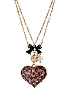 ANTIQUE LEOPARD HEART PENDANT LEOPARD Betsey Johnson $35