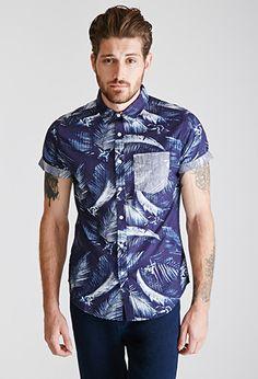 Tropical-Printed Collared Shirt | 21 MEN | #f21men