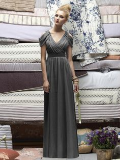 Grey V-neck Floor-length Chiffon Bridesmaid Dress with Draped Detail