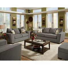 Elegant Nebraska Furniture Mart U2013 American Furniture 2 Piece Gray Microfiber Living  Room Set $640