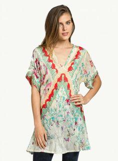 Biya Flower Tunic | Silk Print Top | Johnny Was Collection