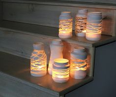 tarros cordones pintados velas Tarros pintados iluminados