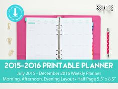 2015-2016 Planner with Morning Afternoon Evening Layout by Printable Studio