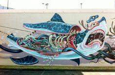 Jeff Soto at Pow Wow feat. Jeff Soto at Pow Wow 2013 Urban Graffiti, Street Art Graffiti, Graffiti Writing, Amazing Street Art, Amazing Art, Awesome, Street Tattoo, Skeleton Art, Sidewalk Art