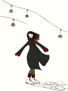 Ice Skating Girl Dancing in Winter Landscape $29 #christmas #art http://www.etsy.com/listing/64479560/ice-skating-girl-dancing-in-winter