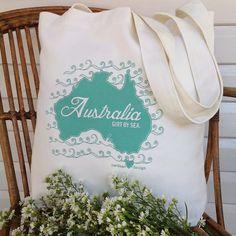 Vintage Green Australia Market Bag :: handprinted by Yardage Design