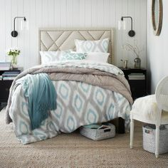 Pool + Sand color combination in a bedroom from west elm