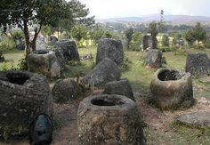 The Plain of Jars, Laos, 500 BCE to 500 CE. Hewn stone jars vary from 1 to 3 metres over 90 sites. During the Vietnam and the Secret Wars in Cambodia and Laos, the U.S. dropped an incredible 260 million bombs on neutral  Laos, more than all of World War II. Unexploded Ordnance (UXO) has killed at least 20,000 since the war, mostly children attracted to the toy-like clusters. (Archaeologists are inhibited in research, of course. rw)