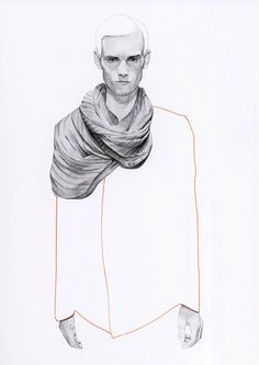 Richard Kilroy, UK, 2010. Graphite Pencil, Week 1, Eduardo. The hyperrealistic quality of the face scarf and hands, juxtaposed to the empty hair and body works well as the detail is balanced and shared carefully across the page. The outline keeps the work proportionate and considered.