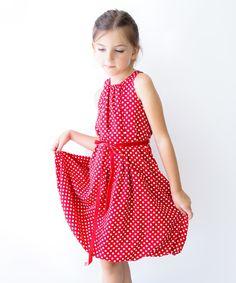 Look at this #zulilyfind! Crimson Polka Dot A-Line Dress - Toddler & Girls by Sophie Catalou #zulilyfinds