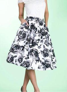 Vintage Full Abstact Rose Print High Waist Knee-Length Women's Skirt