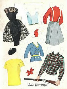 1963 Barbie, Ken and Midge paper doll clothes / eBay