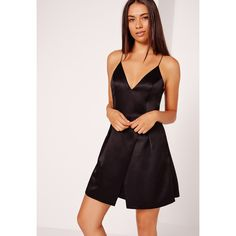 Missguided Strappy Wrap Over Skater Dress ($64) ❤ liked on Polyvore featuring dresses, black, wrap style dress, strap dress, spaghetti strap little black dress, skater dress and strappy dress