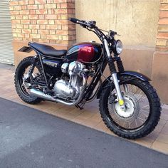 """Lovely Kawasaki #W800 #scrambler by @bobberhouse of Barcelona. For sale!"""